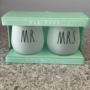 Rae Dunn Mr. Mrs. Stemless Wine Glasses